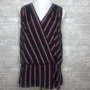 Banana Republic wrap peplum striped blouse